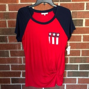 Red, white, and blue tied tee